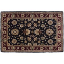 "Kaleen Weslyan Garden Rug - Handcrafted Virgin Wool, 5'x7'9"" in Black - Closeouts"