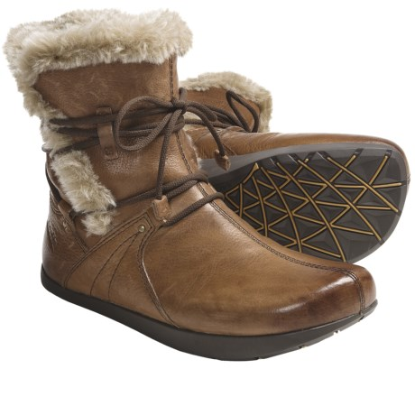 Kalso Earth Central Too Boots - Leather, Faux-Fur Lined (For Women) in Black Vintage Leather