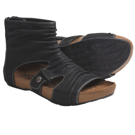 Kalso Earth Eminent Open-Toe Boot Sandals - Nubuck (For Women) in Black Leather