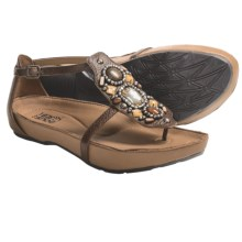Kalso Earth Enchant Sandals - Jeweled Leather (For Women) in Almond Saddle Leather - Closeouts