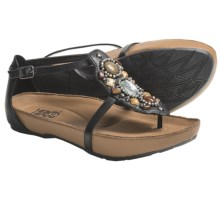 Kalso Earth Enchant Sandals - Jeweled Leather (For Women) in Black Saddle Leather - Closeouts