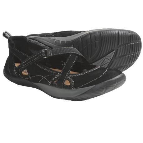 Kalso Earth Penchant Shoes - Leather (For Women) in Black Nubuck W/Pink Stitching