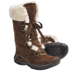 Kalso Earth Shazaam Boots - Nubuck, Faux-Fur Trim (For Women) in Bat Brown Leather