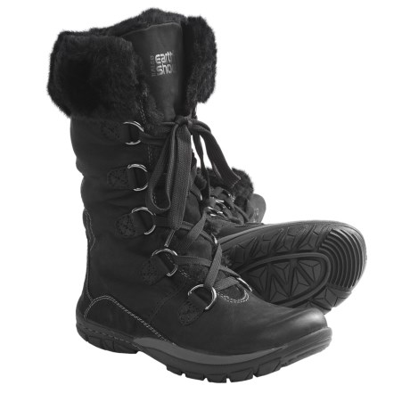 Kalso Earth Shazaam Boots - Nubuck, Faux-Fur Trim (For Women) in Black Leather