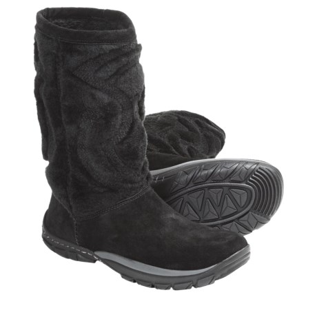 Kalso Earth Supernova Boots -Leather, Faux Fur (For Women) in Black Suede