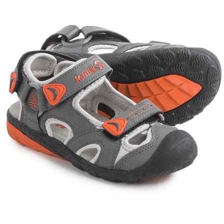 Kamik Beluga Sport Sandals (For Little and Big Kids) in Grey/Orange - Closeouts