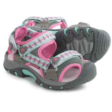 Kamik Jetty Sport Sandals (For Little and Big Girls) in Grey/Pink - Closeouts