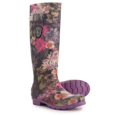 Kamik Orchid Tall Printed Rain Boots - Waterproof (For Women) in Black Floral - Closeouts