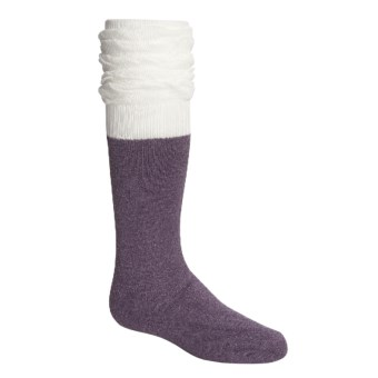Kamik Ruffle Slouch Knee-High Socks - Over the Calf (For Girls) in Black Plum