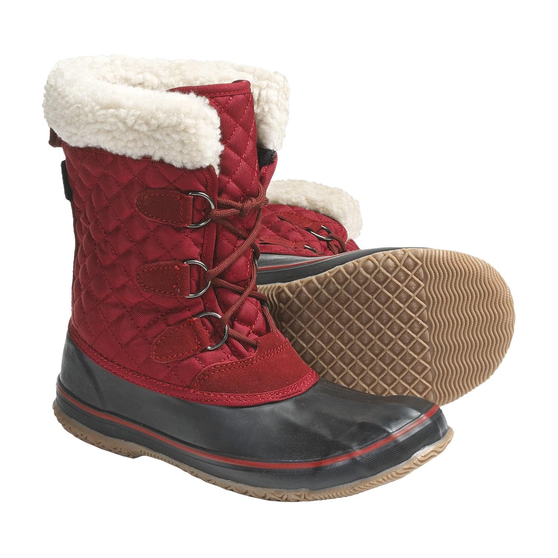 Unique Women Winter Boots Lace Up Ladies Winter Shoes Black Redin Snow Boots