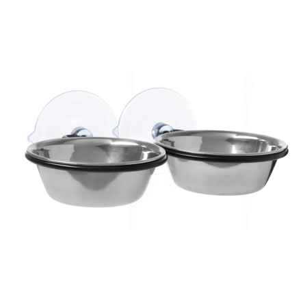 K&H Pet Products EZ Mount Up and Away Kitty Double Diner - 12 oz. in Stainless/Black - Closeouts
