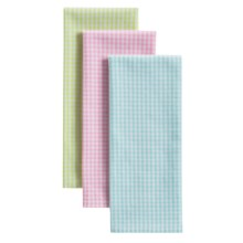 Kane Home Gingham Kitchen Towels - Set of 3 in Green/Blue/Pink - Closeouts