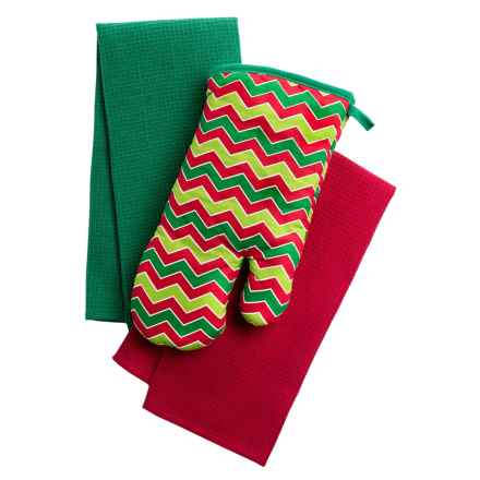 Kane Home Holiday Oven Mitt and Dish Towel Gift Set - 3-Piece in Holiday Chevron - Closeouts