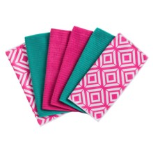Kane Home Microfiber Geometric Dishcloths - Set of 6 in Raspberry Sorbet - Closeouts