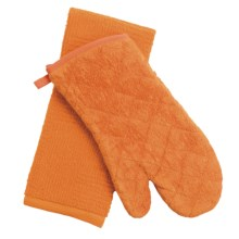 Kane Home Oven Mitt and Dish Towel Set in Tangerine - Closeouts