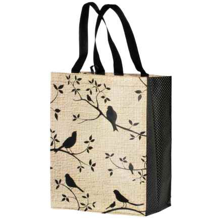Kane Home Printed Eco Bag Reusable Shopping Tote Bag in Birds - Closeouts