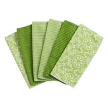 Kane Home Spring Fling Microfiber Dishcloths - Set of 6 in Fresh Green - Closeouts