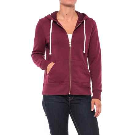 Kangaroo Pocket Fleece Hoodie - Full Zip (For Women) in Burgandy Heather - 2nds