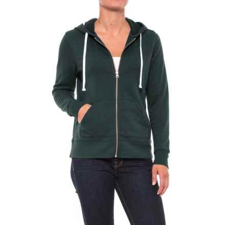 Kangaroo Pocket Fleece Hoodie - Full Zip (For Women) in Forest - 2nds
