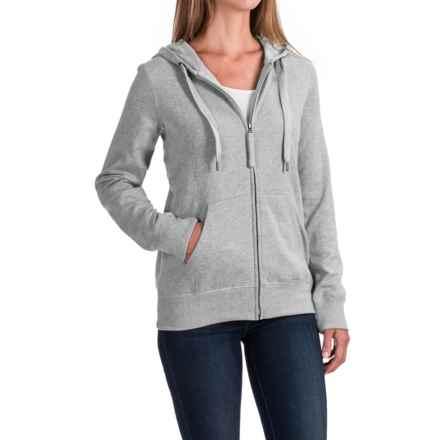 Kangaroo Pocket Hoodie - Full Zip (For Women) in Heather Grey - 2nds