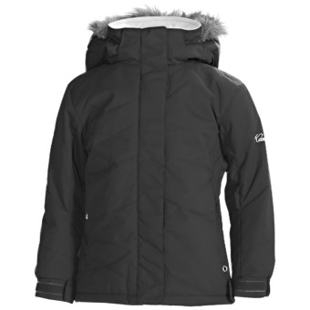 Karbon Amy Ski Jacket - Insulated, Removable Faux-Fur Trim (For Girls) in Black