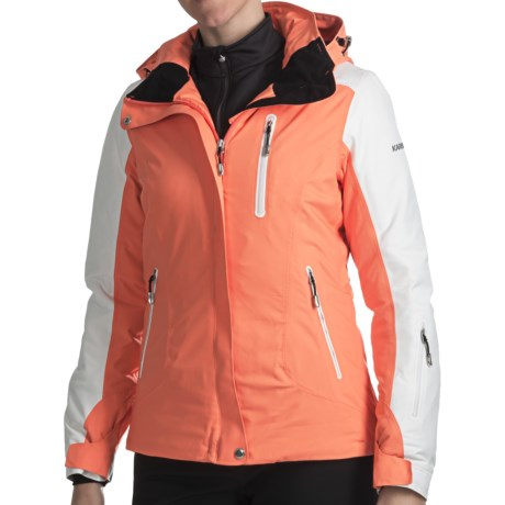 Karbon Opal Ski Jacket - Waterproof, Insulated (For Women) in Coral/Arctic White