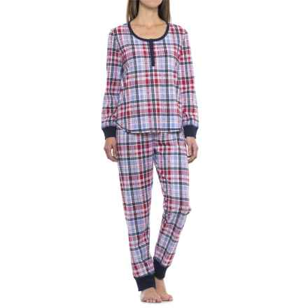 Karen Neuberger Live Love Lounge Henley Shirt and Joggers Pajamas - Long Sleeve (For Women) in Rd4 Plaid Eton Blue - Closeouts