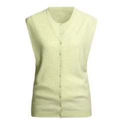 Karoo Cashmere Vest - Button Front (For Women) in Seafoam