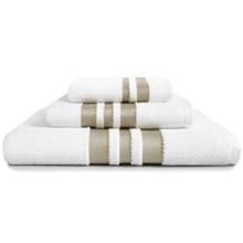 Kassadecor Chelsea Washcloth - Cotton Terry Jacquard in White/Mink - Overstock