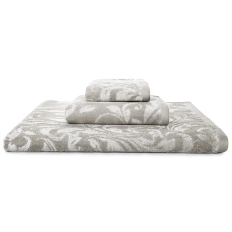 Kassatex Bedminster Scroll Bath Towel - 600gsm Cotton Jacquard in Flint Grey
