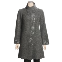 Katherine Barclay Boiled Wool Coat - Embroidered (For Women) in Oxford Grey - Closeouts