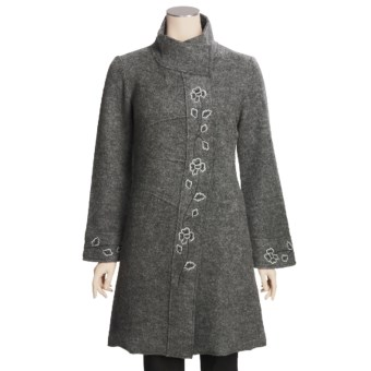 Katherine Barclay Boiled Wool Coat - Embroidered (For Women)