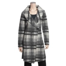 Katherine Barclay Boiled Wool Plaid Coat - Wrap Front (For Women) in Storm/Pebble Grey - Closeouts