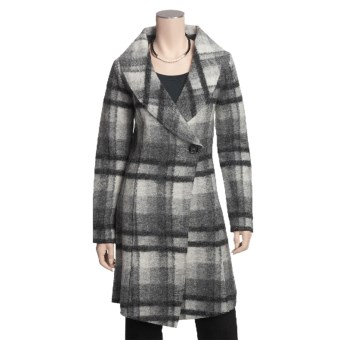 Katherine Barclay Boiled Wool Plaid Coat - Wrap Front (For Women) in Storm/Pebble Grey