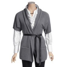 Katherine Barclay Cardigan Sweater - Wool-Alpaca, Short Sleeve (For Women) in Grey/Black - Closeouts