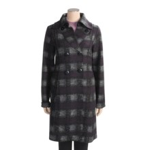 Katherine Barclay Plaid Coat - Wool Blend (For Tall Women) in Purple/Black - Closeouts