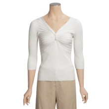 Katherine Barclay Ribbed Shirt - Silk-Rich, 3/4 Sleeve (For Women) in Ivory - Closeouts