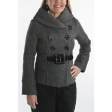 Katherine Barclay Wool Belted Pea Coat - Bell Sleeve (For Women) in Grey Charcoal - Closeouts