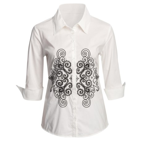 Katherine New York Venetian Scroll Embroidered Shirt - Stretch Poplin, 3/4 Sleeve (For Women) in White