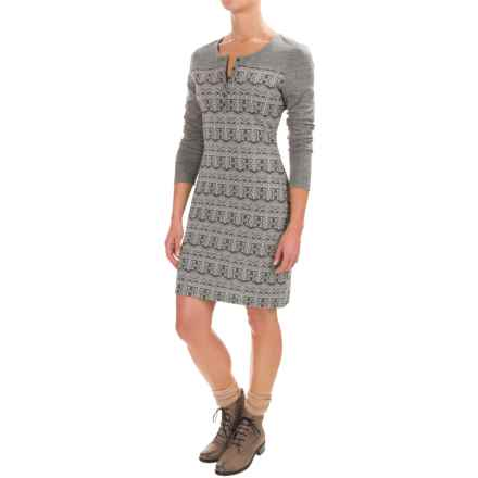 Kavu Blake Jacquard Knit Dress - Long Sleeve (For Women) in Grey - Closeouts