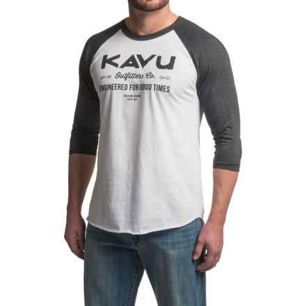 Kavu Fly Ball Baseball T-Shirt - 3/4 Sleeve (For Men) in Black Smoke - Closeouts