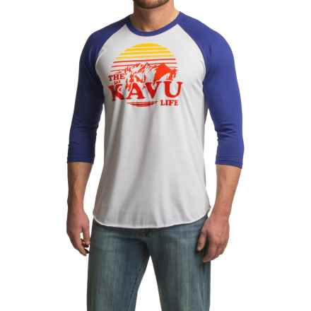 Kavu Fly Ball Baseball T-Shirt - 3/4 Sleeve (For Men) in Lapis - Closeouts