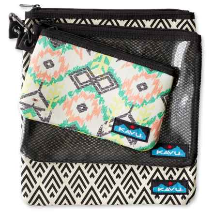 Kavu Goodie Pouches - Set of 3 (For Women) in Deco Tiles - Closeouts