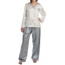 KayAnna Brushed Back Satin Pajamas - Long Sleeve (For Women) in Blue Leaf/Check - Overstock