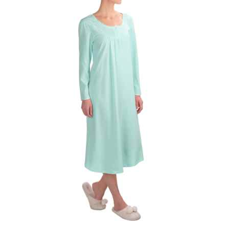 Kayanna Brushed Jersey Nightgown - Long Sleeve (For Women) in Aqua - Overstock