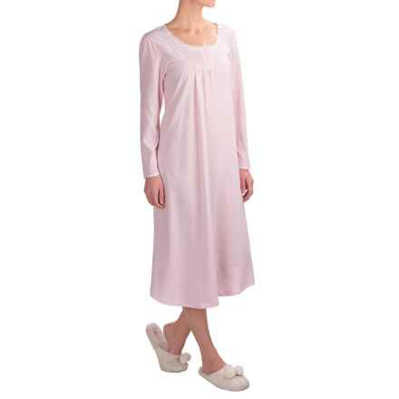 Kayanna Brushed Jersey Nightgown - Long Sleeve (For Women) in Pink - Overstock