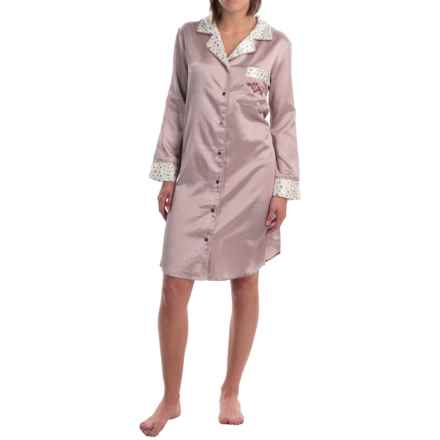 KayAnna Button-Up Satin Nightshirt - Long Sleeve (For Women) in Purple Check - Overstock