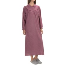 KayAnna Cotton Flannel Nightgown - Long Sleeve (For Women) in Burgundy - Closeouts