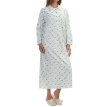 KayAnna Cotton Flannel Nightgown - Long Sleeve (For Women) in Ivory Flower - Closeouts
