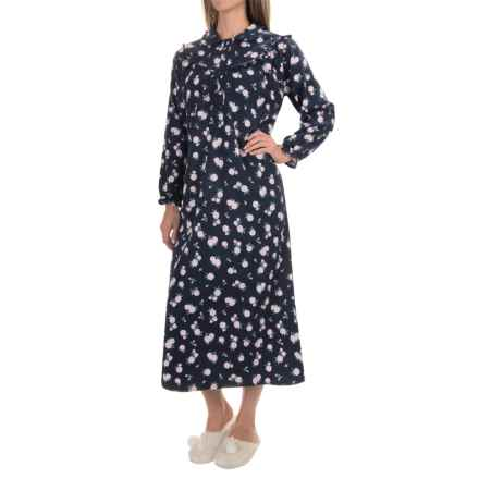 KayAnna Cotton Flannel Nightgown - Long Sleeve (For Women) in Navy Flower - Closeouts